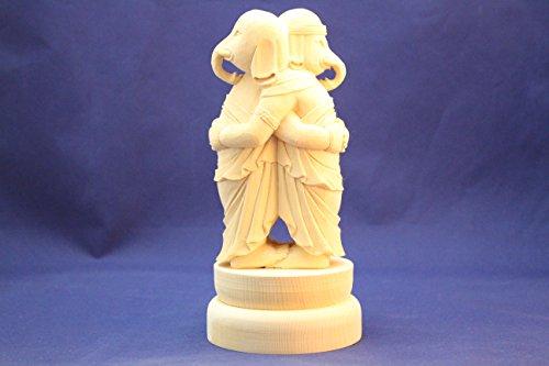 仏像/歓喜天(聖天)双身立像総高20cm桧木ヒノキ