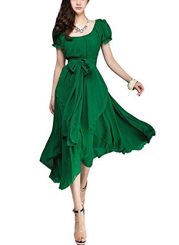 [해외](르 세리지에) 여성 쉬폰 롱 드레스 원피스 맥시 길이 라운드 넥 정장/(Le Serieier) Women`s Chiffon Long Dress One Piece Maxi Length Round Neck Formal