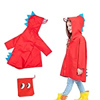 ZIYOYOR Children Portable Dinosaur Raincoat Kids Boy Girls Poncho Rainwear with Hood Cartoon Cute Raincoat Jacket