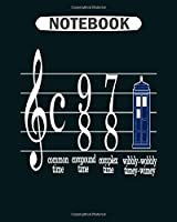 Notebook: music doctor who in phone box  College Ruled - 50 sheets, 100 pages - 8 x 10 inches