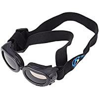 UEETEK ペット犬 UVプロテクションサングラス 防風 防水 犬用折りたたみ式サングラス S(ブラック)