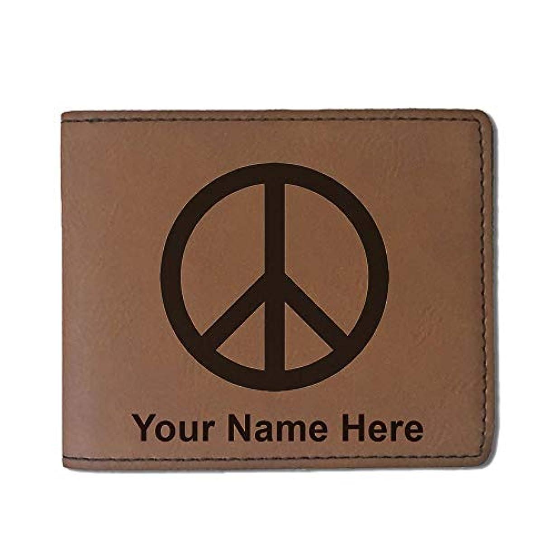 怠カウンターパート彼女はフェイクレザー財布 – Peace Sign – カスタマイズ彫刻Included (ダークブラウン)