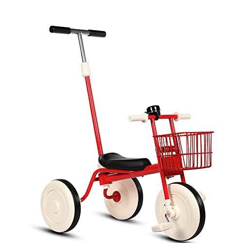三輪車 子供用 カジキリ付き ランニングバイク 足けり三輪車 ベビーカー ベル付きキッズ バイク ノーパンクタイヤ 軽便児童車