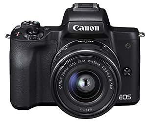 Canon ミラーレス一眼カメラ EOS Kiss M ブラック レンズキット EF-M15-45 IS STM付属 EOSKISSMBK-1545ISSTMLK