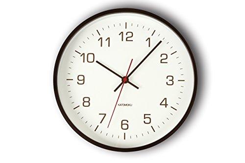 KATOMOKU plywood wall clock 4 電波時計 連続秒針 ブラウン km-44BRC φ252mm