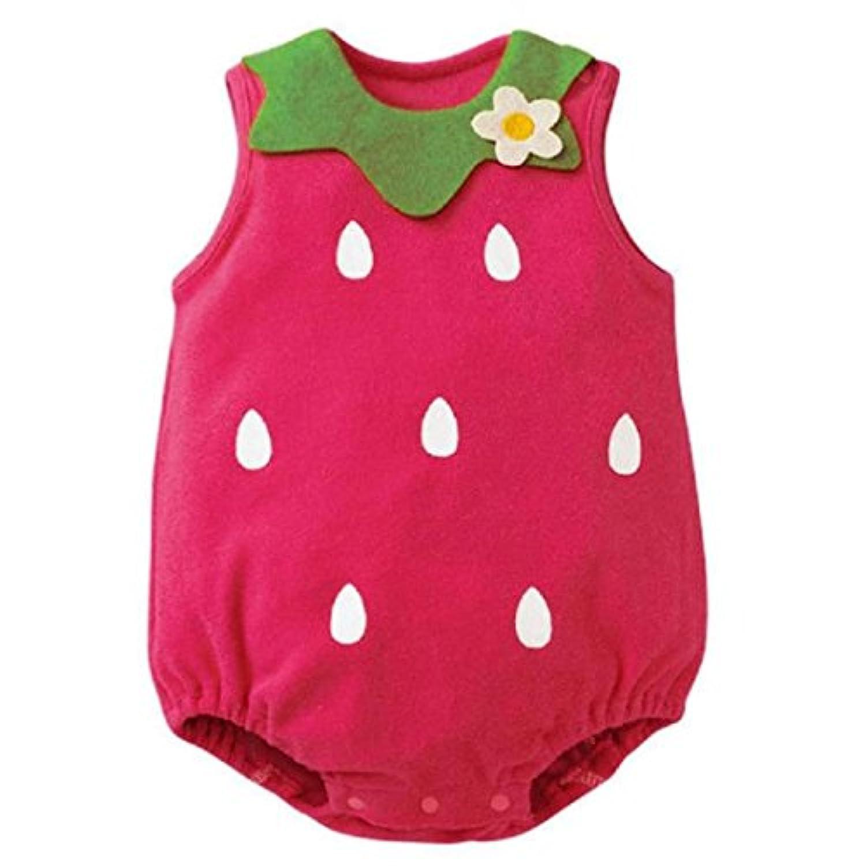 イチゴ ベビー服 女の子 幼児 赤ちゃん 新生児  子供服 女の子 ロンパース カバーオール 出産祝い/プレゼント 80CM-90CM-95CM(0ヶ月-12ヶ月) (95CM/6-12ヶ月, ホット?ピンク )