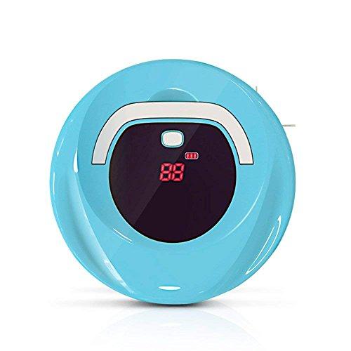 ロボット掃除機 小型 ロボットクリーナー 自動掃除機 カーペット掃除機 静音 強力吸引 落下& 衝突防止 丸型 進化版 (ブルー)