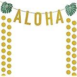 ゴールドGlittery Aloha Green Leaves Garland andゴールドGlittery円ドットガーランドおよび4つピースゴールド紙吹雪バルーン、ハワイアントロピカルLuauビーチ夏パーティーDecoration Supplies