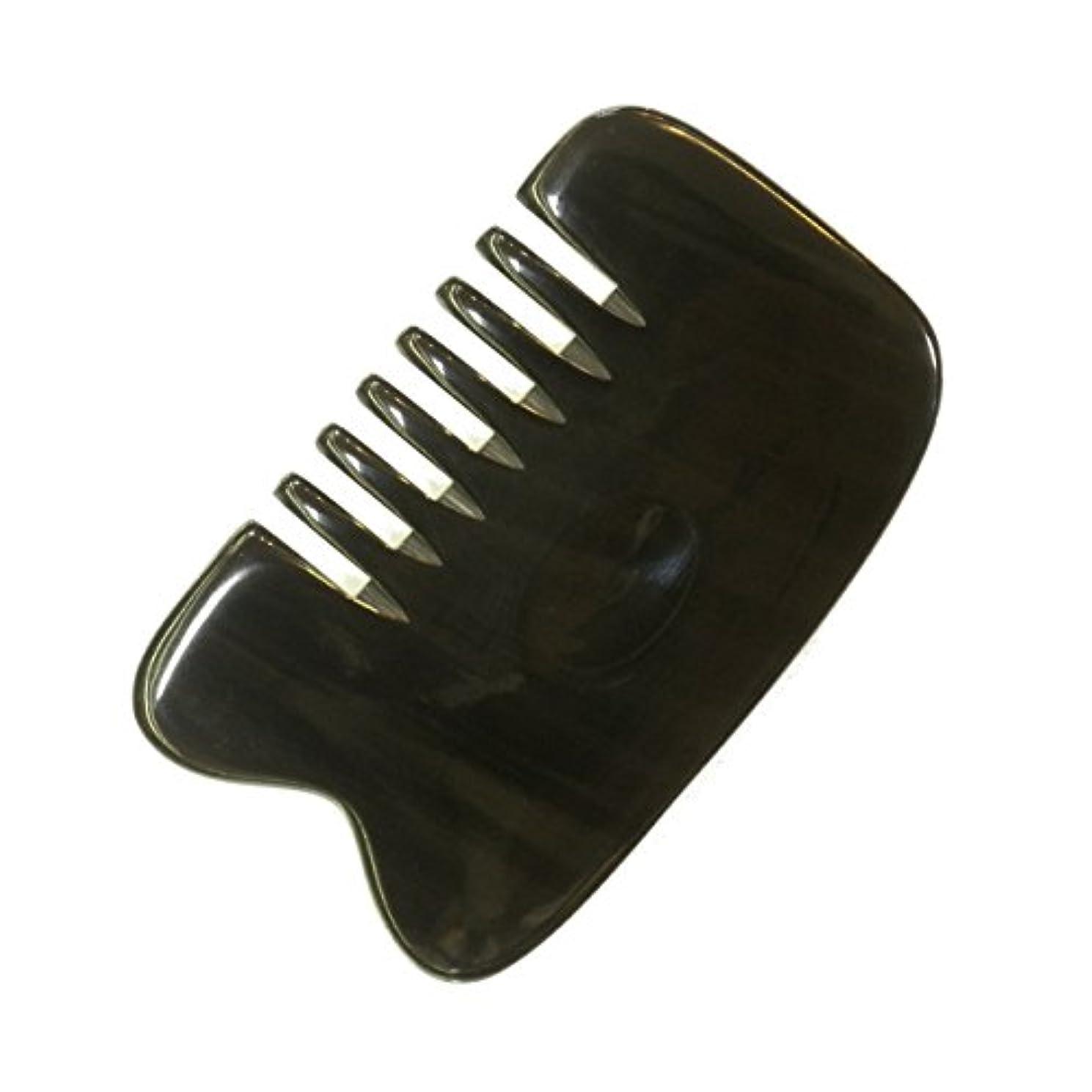 信念花輪筋肉のかっさ プレート 厚さが選べる 水牛の角(黒水牛角) EHE221SP 櫛型 特級品 標準(6ミリ程度)