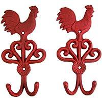 Rooster 鋳鉄壁フック 9インチ (2個セット)
