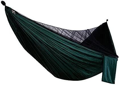 高品質210Tパラシュート ハンモック 蚊帳付き 耐荷重280kg 大人&子供兼用1、2人用 ゆったり 収納ポケット付き