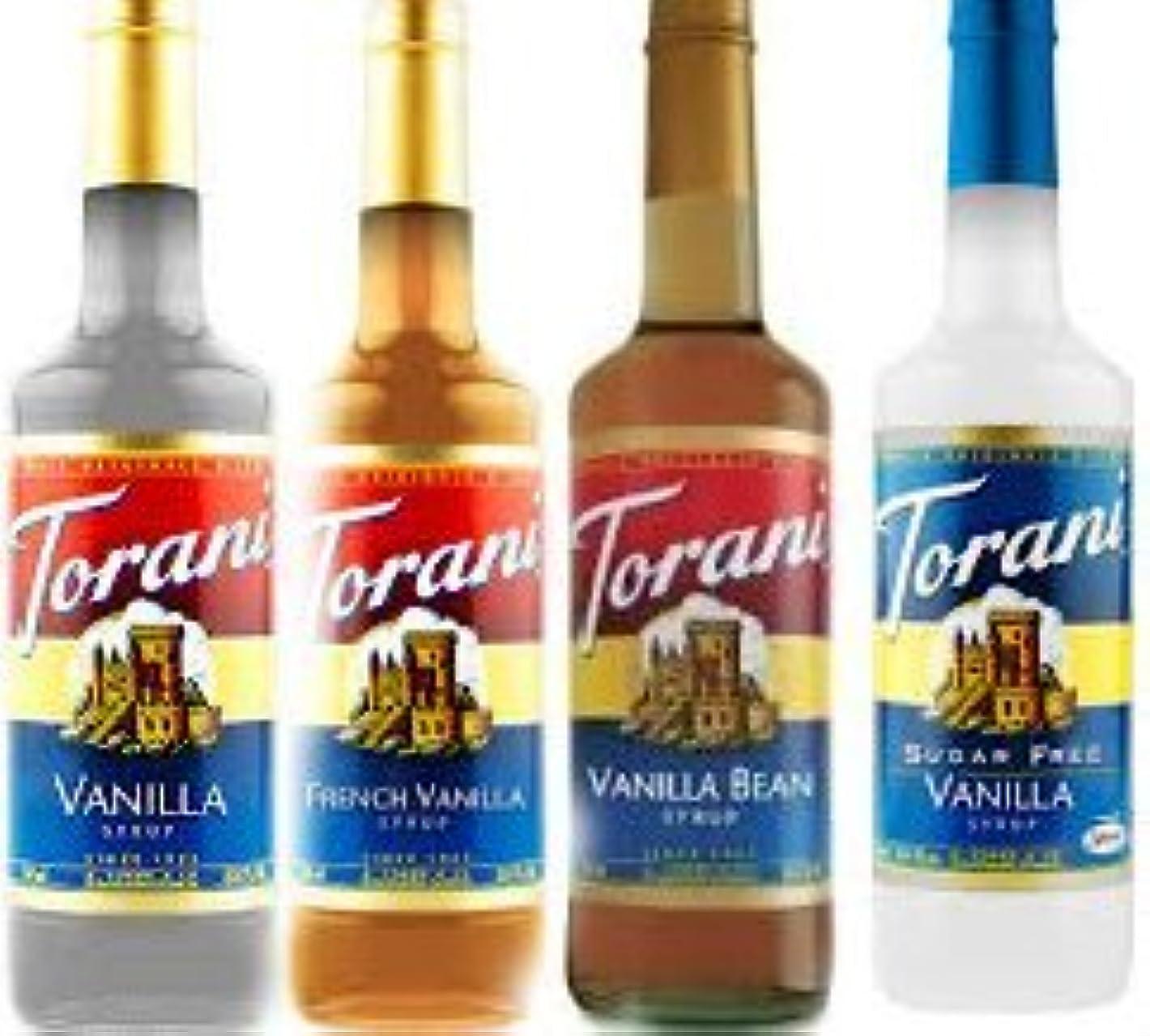 円形統計的不運Torani Vanilla Lovers Assortment Vanilla French Vanilla Vanilla Bean & Sugar Free Vanilla Syrup Variety Pack 25.4...