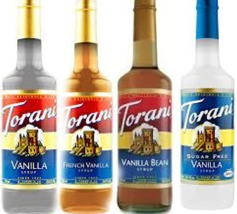 演じる一元化するモンクTorani Vanilla Lovers Assortment Vanilla French Vanilla Vanilla Bean & Sugar Free Vanilla Syrup Variety Pack 25.4...