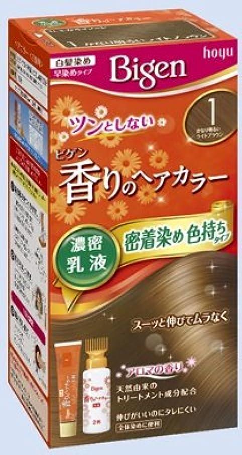 満たすあいにく日焼けビゲン 香りのヘアカラー 乳液 1 かなり明るいライトブラウン × 10個セット