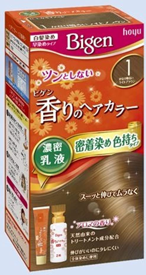 失泣いている組ビゲン 香りのヘアカラー 乳液 1 かなり明るいライトブラウン × 5個セット