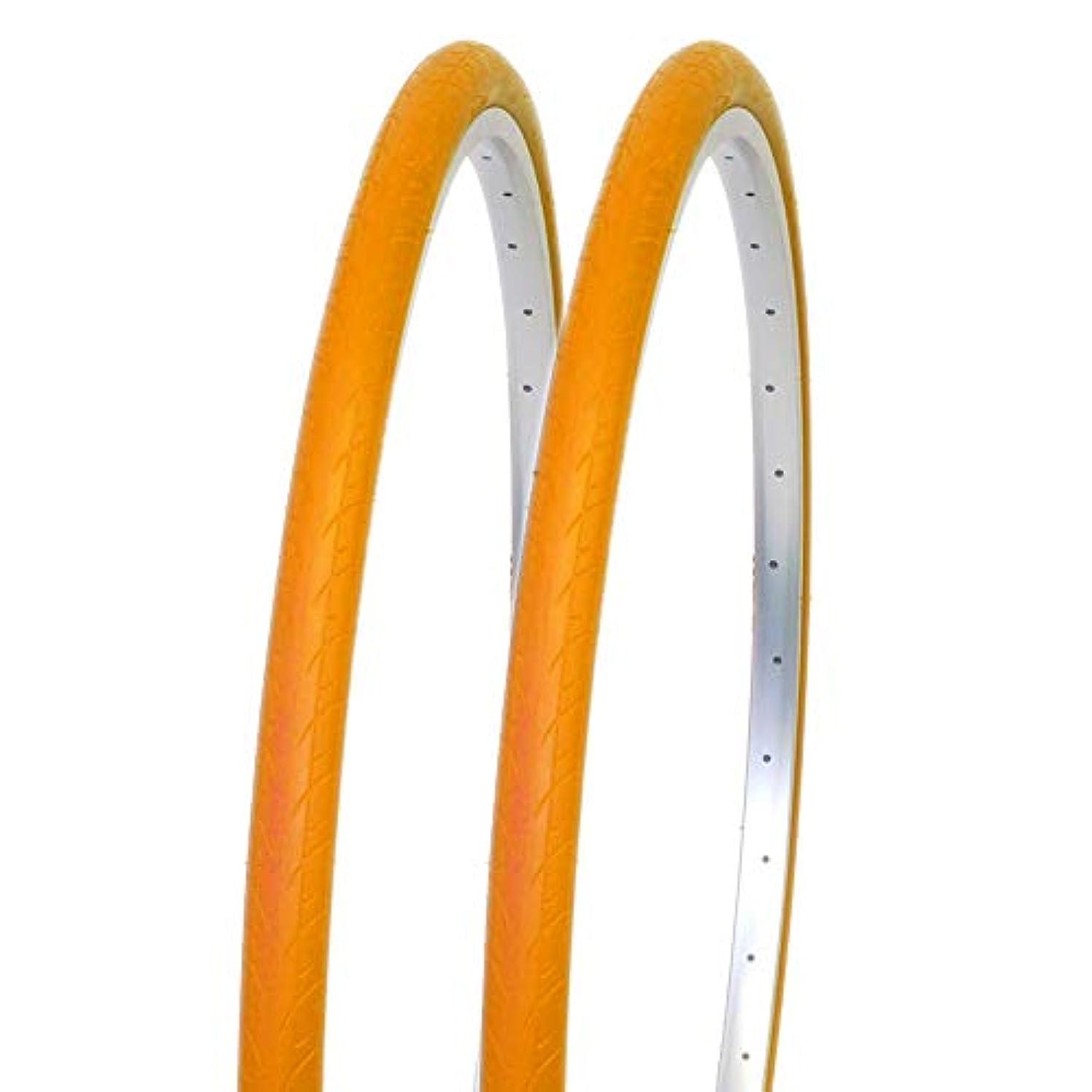 長くするラバ上向きDURO デュロ 自転車 タイヤ 700x28C カラータイヤ 2本セット 700C DB-7043 STINGER クロスバイク ロードバイク (オレンジ)