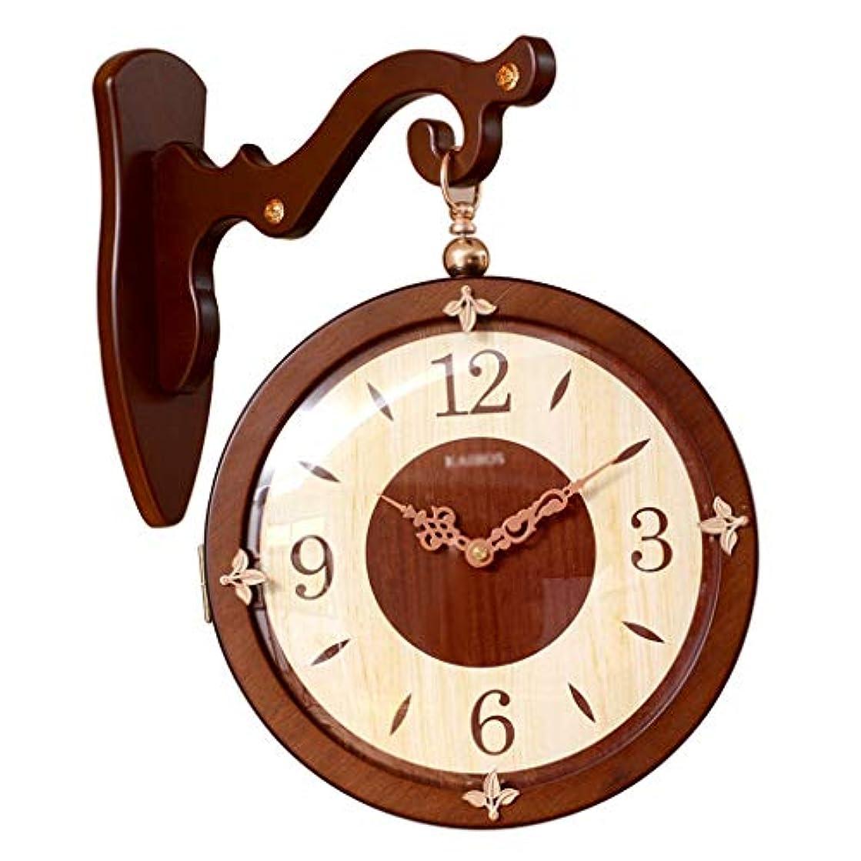 しわ辛い深さ両面壁時計、中国の壁時計無垢材の壁時計シンプルな石英の壁時計屋内の壁時計 (色 : ブラウン ぶらうん, サイズ さいず : 40*27*30*36*6.5*28CM)