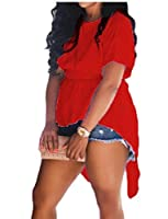 maweisong 女子高の低い非対称の不規則なショートスリーブトップスシャツ・ブラウス Red L