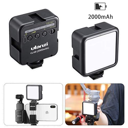 Ulanzi 49LEDビデオライト 2000mAh USB充電式 ソフト光 超高輝度 コールドシューマウント付きカメラライト iPhone Samsung Canon Nikon Sony Zhiyun Smooth 4 DJI OSMO Mobile 3 Action Gopro 5 6 7 8 pro用