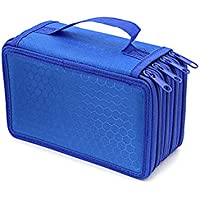 Alextreme 4 Layers Pencil Case Box Nylon Solid Color Zipped Shockproof Pen Pouch Bag Makeup Brush Storage Bag