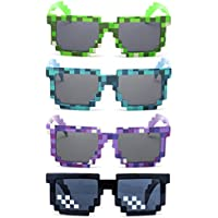 kilofly 4pc 8-Bit Pixel UV Protect Gamer Sunglasses Adult Kids Party Favors