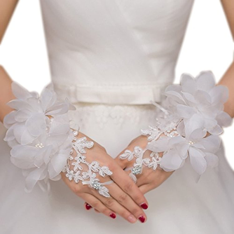 RIKOUZY(リコウゼワイ)指なし手袋 フィンガーレスグローブ ウェディンググローブ ブライダル手袋 ショートグローブ 刺繍 レース お花リボン付き 花嫁用品
