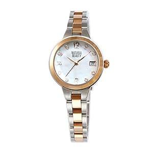 [ナチュラルビューティ] シンプル おしゃれ ソーラー 腕時計 充電 NB104TWHM レディース シルバー ピンクゴールド