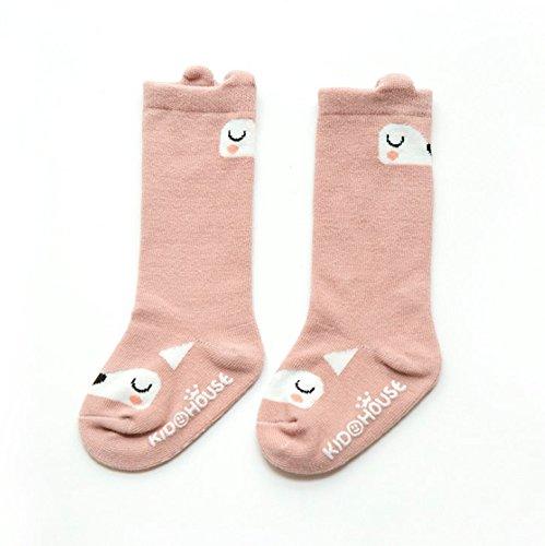 Keepjoy ハイソックス 靴下 保温 秋冬 ベビー キッズ 赤ちゃん 新生児 滑り止め 付き 2足セット (M, ピンク+ グレー)