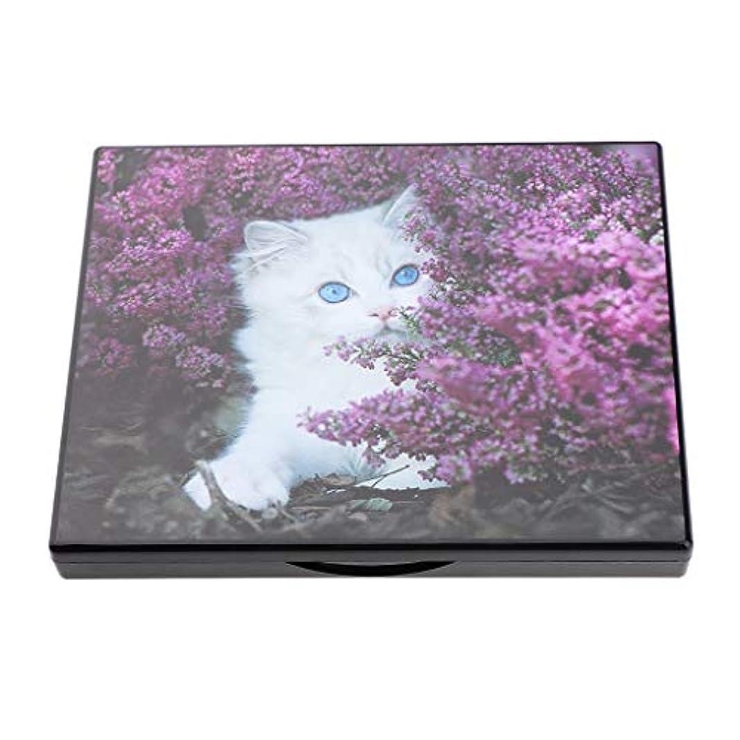 麻酔薬拡散するベリーDYNWAVE 磁気化粧パレット ミラー付き 空ケース 手作り化粧品 コンテナ 旅行小物 省スペース 便携 全4色 - 愛らしい白猫