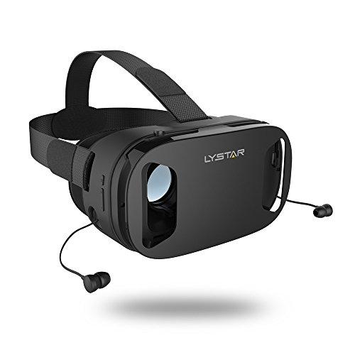 LyStar 3D VR ゴーグル イヤホン搭載 画面タッチ・音量調節・動画一時停止 3Dメガネ iPhone Sony Huawei iOS/Android多機種対応
