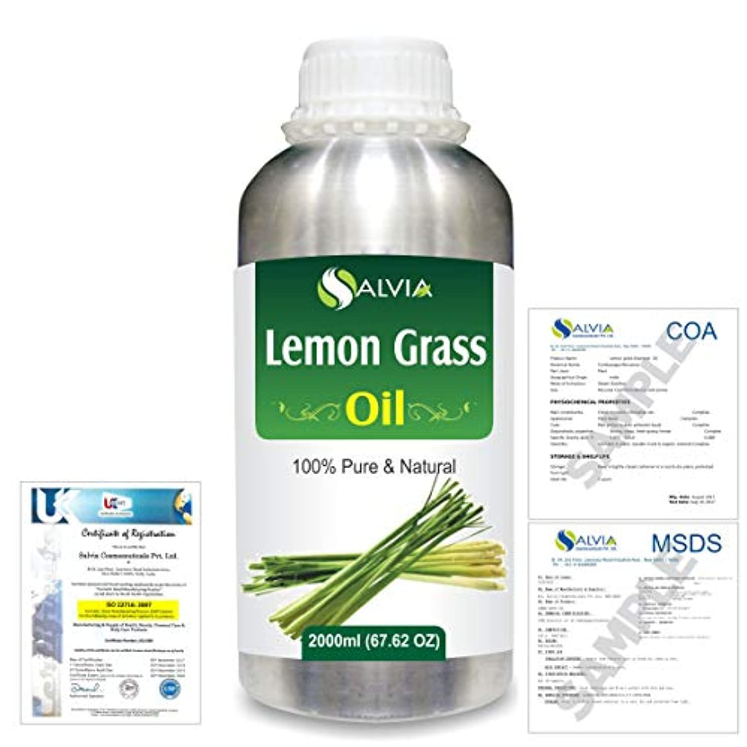 ペンダント政府非アクティブLemon Grass (Cymbopogon citrates) 100% Natural Pure Essential Oil 2000ml/67 fl.oz.
