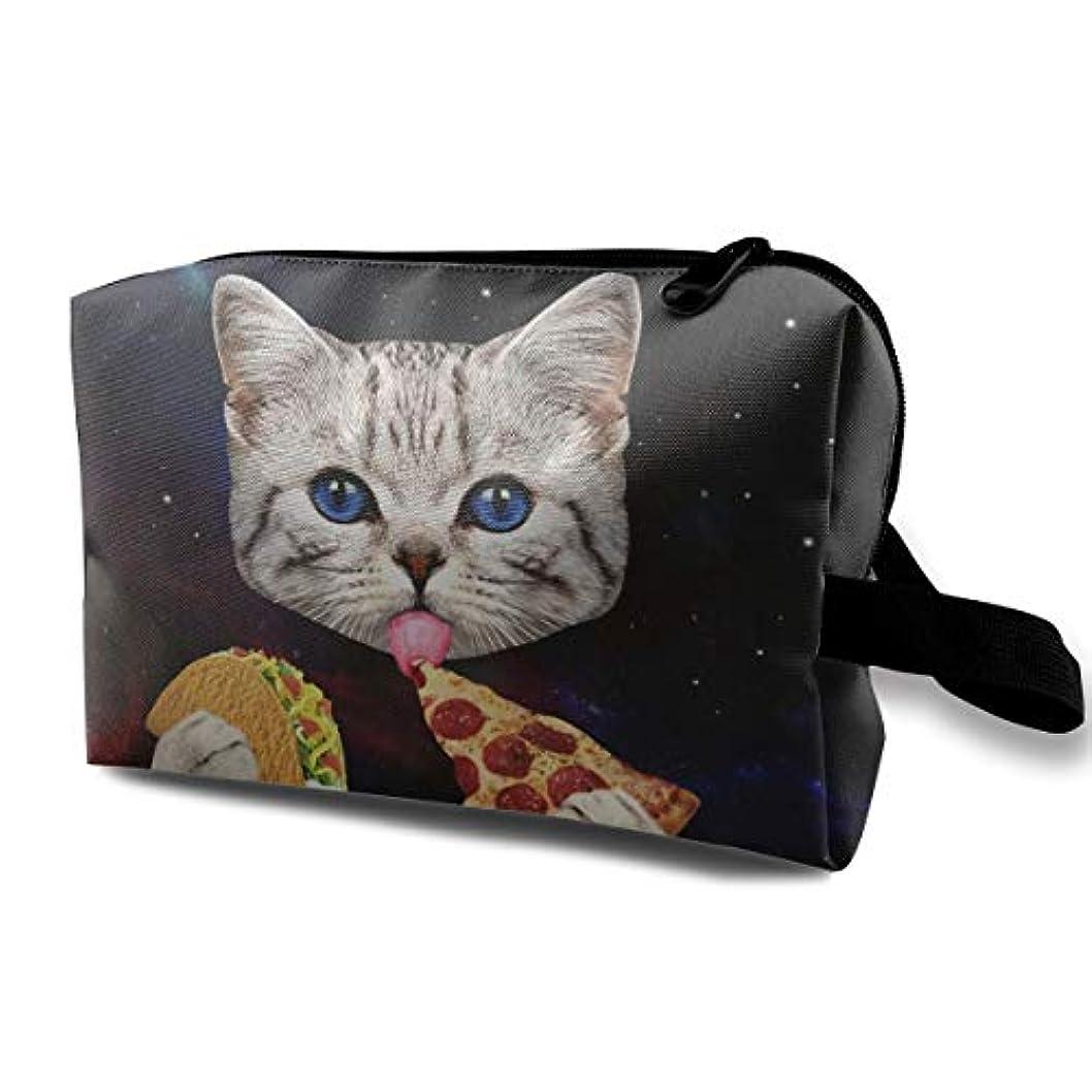 抑圧食品逆Space Cat With Taco Pizza 収納ポーチ 化粧ポーチ 大容量 軽量 耐久性 ハンドル付持ち運び便利。入れ 自宅?出張?旅行?アウトドア撮影などに対応。メンズ レディース トラベルグッズ