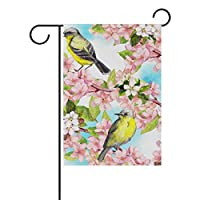 春夏ロビン鳥桃の花庭庭フラグバナー用屋外ハウスフラワーポット両面プリント12×18インチ
