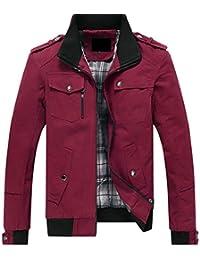chenshiba-JP メンズファッションスタンドカラー軽量ロングスリーブフル郵便番号ボンバージャケット