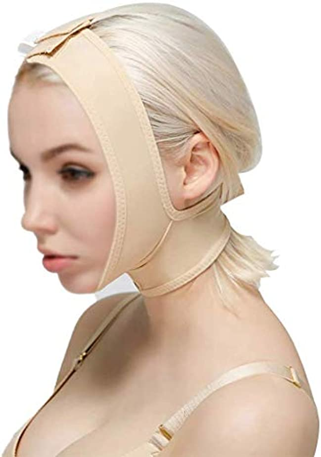 ピニオン避ける比類のないスリミングVフェイスマスク、顔と首のリフト、減量術後弾性スリーブ顎セット顔アーティファクトV顔顔面バンドルダブルあご薄い顔かつら(サイズ:Xl)