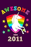 Awesome Since 2011: Unicorn Draw & Write | Blank Half Drawing Sketch Book & Wide Ruled Lined Paper | Magical Purple Cover for Girls Born this Year | Workbook Notepad for Kids at Home & School | Create, Learn to Draw with a Writing Pad & Sketchbook
