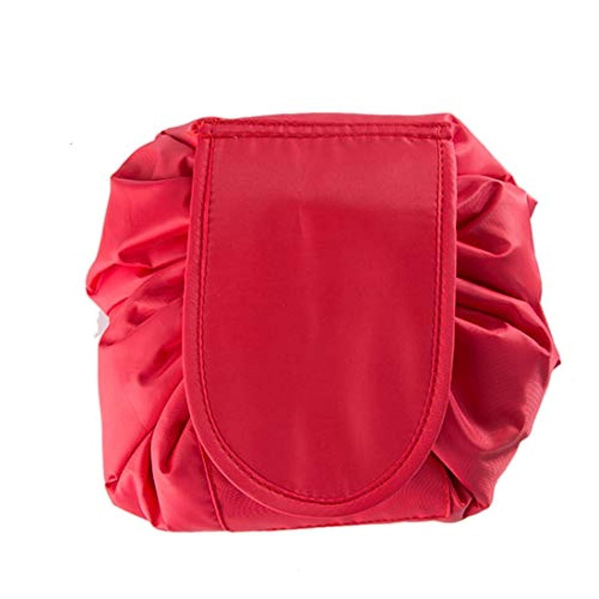 海洋の借りているお母さん(ボラ-キキ) Bole-kk メイクポーチ 化粧ポーチ 化粧バッグ メイク収納バッグ 大容量 巾着型 マジックふろしきポーチ 携帯 防水 旅行収納バッグ コンパクト 2枚セット 赤