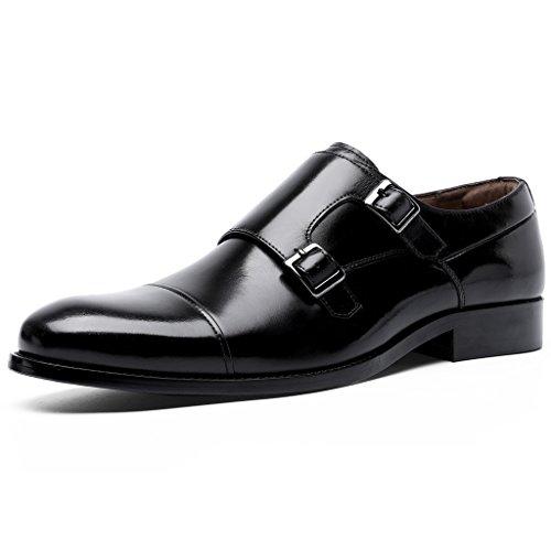 [ロムリゲン] ビジネスシューズ メンズ 紳士靴 革靴 本革 モンクストラップ ブラック 24.0cm6718-11
