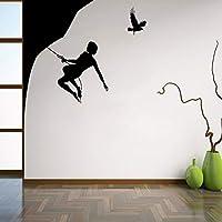 Ansyny Diyクライマーウォールビニールデカール登山者ウォールステッカー山の風景ホームインテリア寝室の装飾エクストリームウォール42 * 62センチ