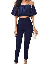 VITryst 女性は1つの ワード 襟裾フリルキャミソールロングパンツ一式