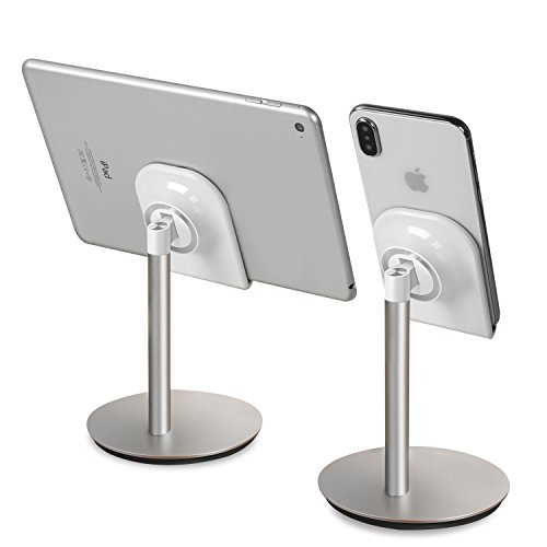 Apona スマホスタンド タブレットスタンド 卓上 角度調整可能 充電スタンド ホルダー 【nintendo switch対応】10インチ以内対応 iPhone X・iPhone 8 Plus・iPhone 8・iPad・iPad mini・Nexus 7等(シルバー)ニンテンドースイッチ ゲーム機 Switch PSV 等 シルバー
