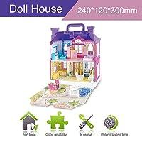 DIYドールハウス家具付きミニチュアハウス高級シミュレーションドールハウス組み立ておもちゃ子供用子供誕生日プレゼント-パープル