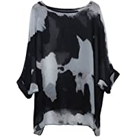 Women's Batwing Sleeve Round Neck Floral Printed Semi Sheer Tunics Poncho Top Casaul Summer Loose Chiffon Blouse Oversize 3/4 Sleeve T Shirt Bohemian Bikini Cover Ups Beachwear - Letsenvy