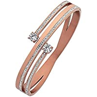 Bevilles Rose Stainless Steel Crystal Bypass Bangle