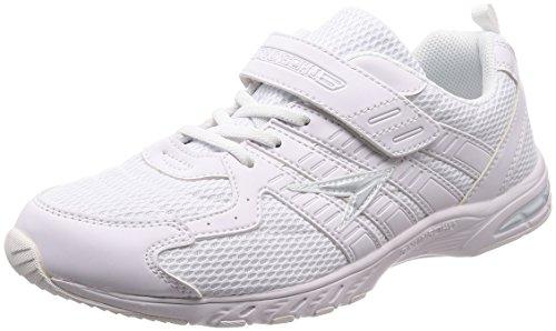 [シュンソク] 運動靴 通学履き 瞬足 軽量 15~27cm キッズ 男の子 女の子 ホワイト/ホワイト 24.5cm 2E