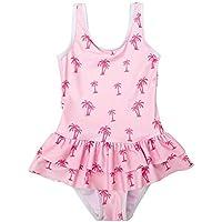 Nobrand Children's Swimsuit one-Piece Lotus Leaf Coconut Tree Girls Swimsuit one-Piece Adjustable Shoulder Strap Swimsuit Beachwear Family wear