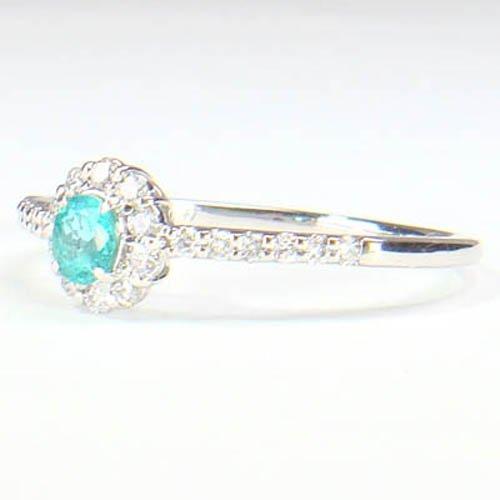 5-1602-06193 UDS ◆ パライバ トルマリン & ダイヤモンド Pt900 プラチナ リング 13号