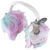 Childrens/Girls Pink & White Fluffy Winter Warm Unicorn Earmuffs for Kids