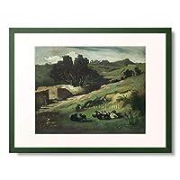アンゼルム・フォイエルバッハ Feuerbach, Anselm 「Landschaft mit Ziegen. 1873.」 額装アート作品