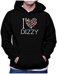 I love dizzy colorful hearts フーディー